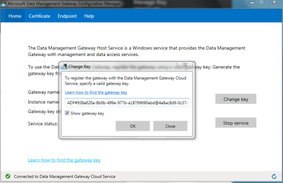 Microsoft Data Gateway OnPremise Key