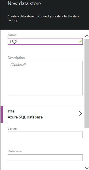 New Azure SQL Server Data store